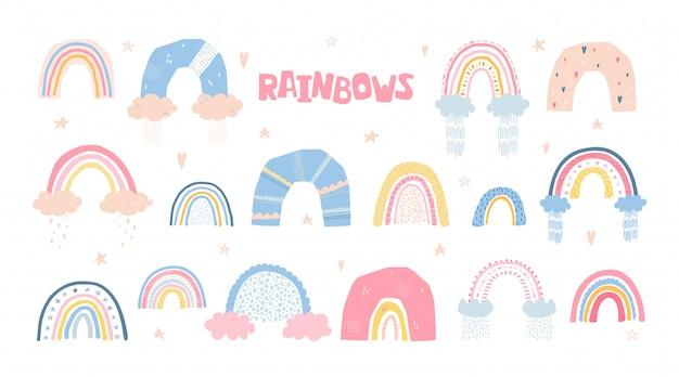 Conjunto de arco-íris com sol, nuvens, chuva no estilo cartoon, isolado Vetor Premium