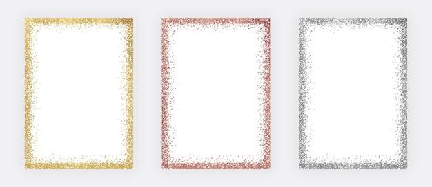 Conjunto de armações de confete com glitter dourado, ouro rosa e prata Vetor Premium