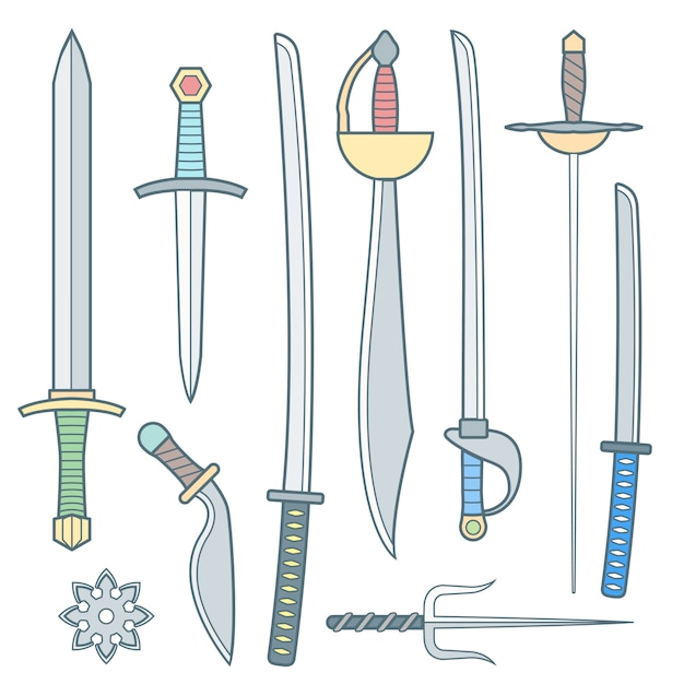 Conjunto de armas medievais frio de contorno Vetor Premium