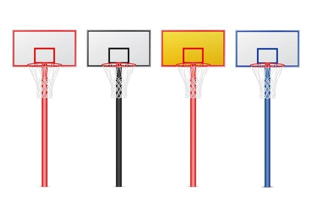 Conjunto de aros de basquete. Vetor Premium