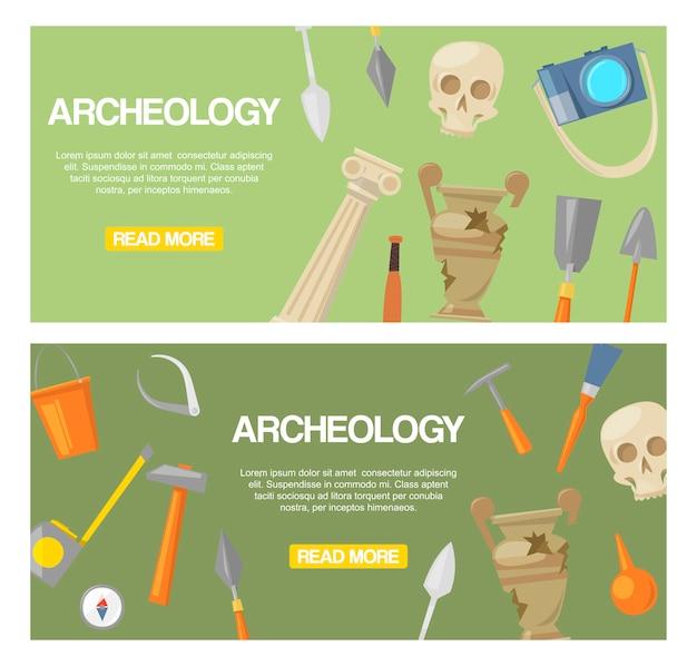 Conjunto de arqueologia de vetor de banners. ferramentas arqueológicas, artefatos antigos Vetor Premium