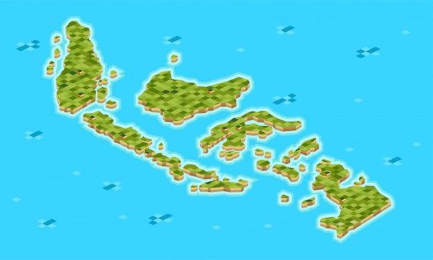 Conjunto de arquipélago indonésio isométrico consiste em muitas ilhas grandes e pequenas - Vetor Premium