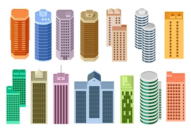 Conjunto de arranha-céus dos desenhos animados Vetor Premium