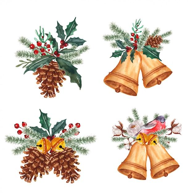 Conjunto de arranjo floral de inverno em aquarela com sino Vetor Premium