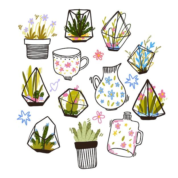 Conjunto de arranjos de flores doodle Vetor grátis