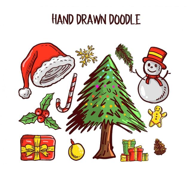 Conjunto de arte de doodle de natal Vetor Premium