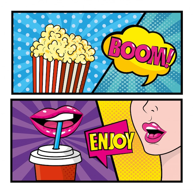 Conjunto de arte pop em quadrinhos com pipoca e mulher bebendo refrigerante com mensagens Vetor Premium