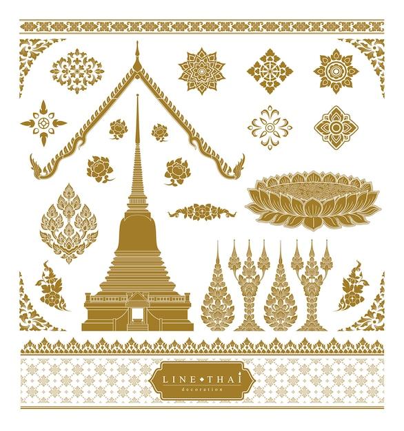 Conjunto de arte tailandesa Vetor Premium