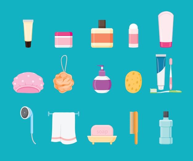 Conjunto de artigos de banheiro isolado em azul Vetor Premium