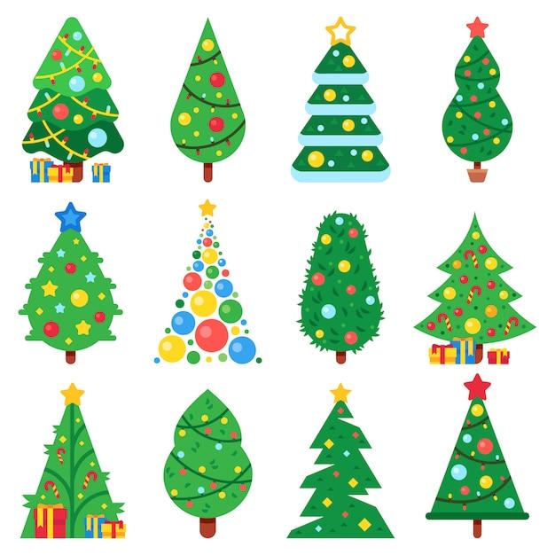 Conjunto de árvore de natal de papel liso Vetor Premium