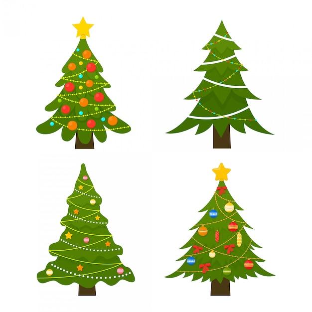 Conjunto de árvores de natal. árvore de inverno decorado com luzes garland, bolas de decoração e lâmpadas. Vetor Premium