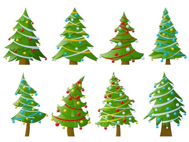 Conjunto de árvores de natal com guirlandas Vetor Premium