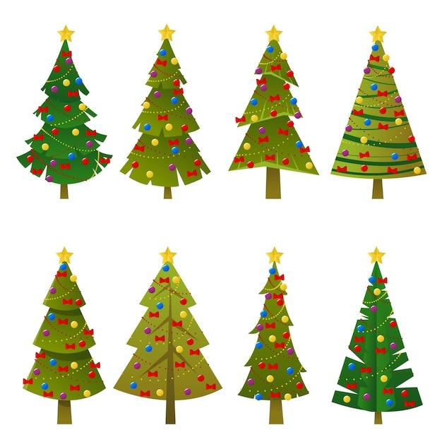 Conjunto de árvores de natal verdes planas Vetor Premium