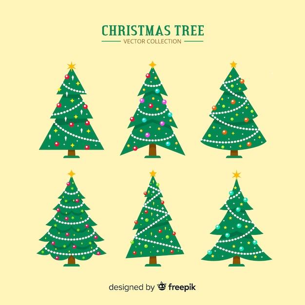 Conjunto de árvores de natal Vetor grátis