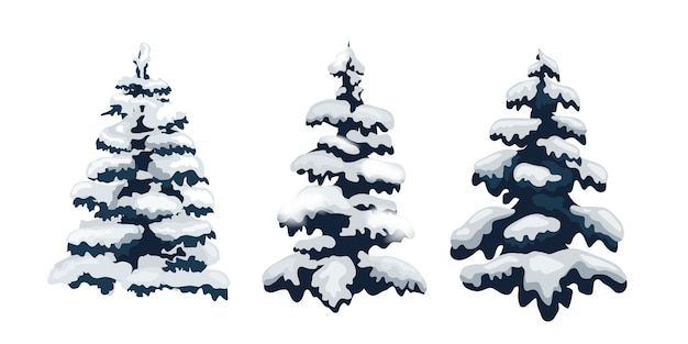 Conjunto de árvores de neve. Vetor Premium