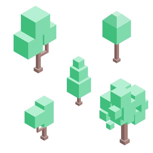Conjunto de árvores isométricas. vetor isolado. Vetor Premium