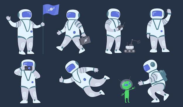 Conjunto de astronauta dos desenhos animados Vetor grátis