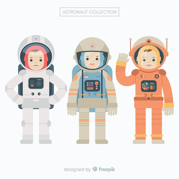 Conjunto de astronautas em design plano Vetor grátis