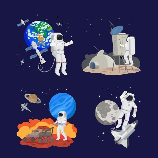 Conjunto de astronautas no espaço Vetor Premium
