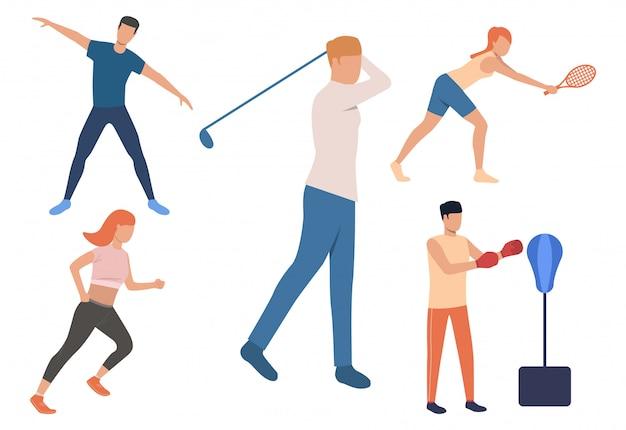 Conjunto de atividades de fim de semana. homens e mulheres jogando tênis Vetor grátis