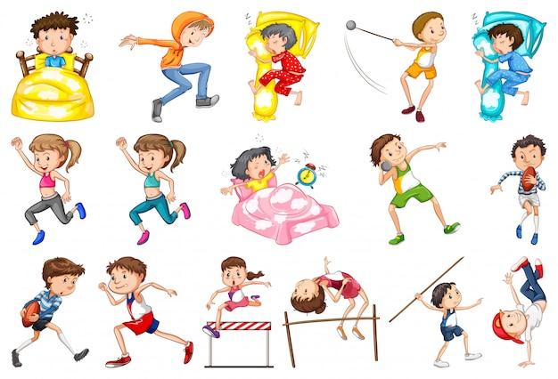 Conjunto de atividades diárias de crianças Vetor grátis