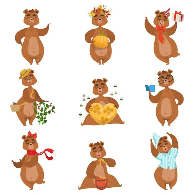 Conjunto de atividades diferentes de urso pardo de adesivos de personagem feminino Vetor Premium