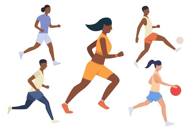 Conjunto de atividades esportivas em execução. homens e mulheres correndo Vetor grátis