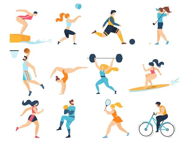 Conjunto de atividades esportivas profissionais. homens mulheres esportistas personagens treino isolado Vetor Premium