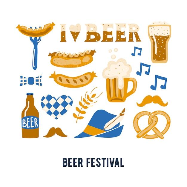 Conjunto de atributos de festival de cerveja tradicional mão desenhada. Vetor Premium