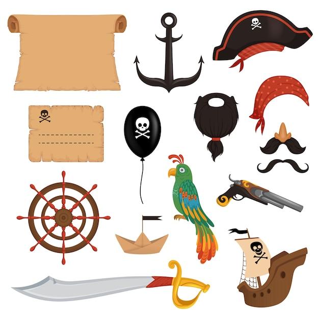 Conjunto de atributos de pirata para o feriado em estilo cartoon. Vetor Premium