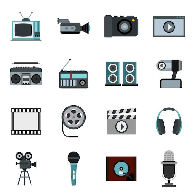 Conjunto de áudio e vídeo Vetor Premium