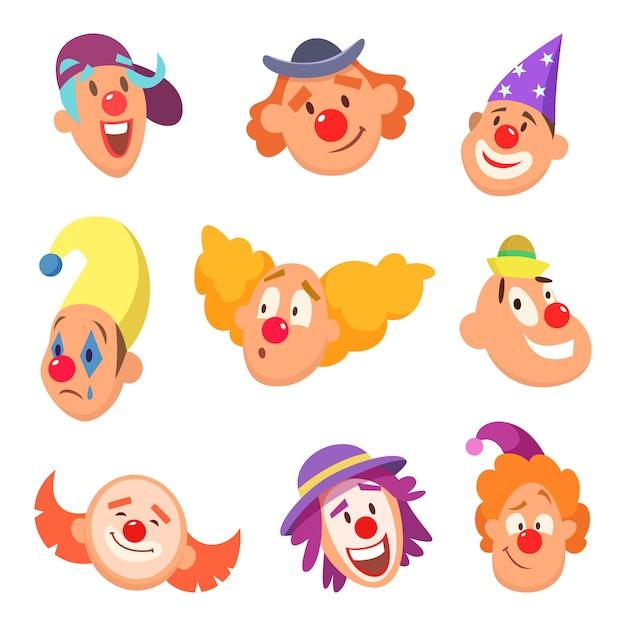 Conjunto de avatar de palhaços engraçados com emoções diferentes Vetor Premium
