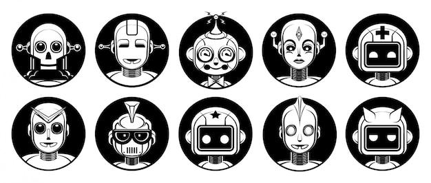Conjunto de avatar de personagens de robô android Vetor Premium