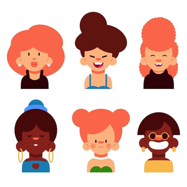 Conjunto de avatar de pessoas com aparência diferente Vetor grátis