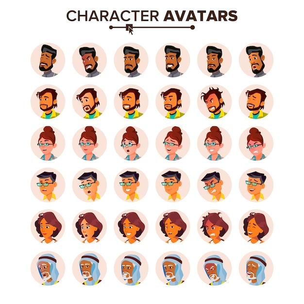 Conjunto de avatar de pessoas. Vetor Premium