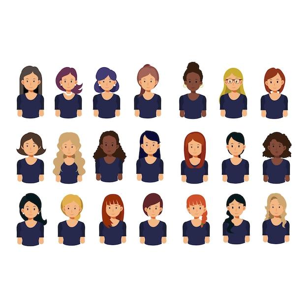 Conjunto de avatar feminino. garotas bonitas com penteados diferentes. coleção de ilustração de avatares de personagem plana. Vetor Premium