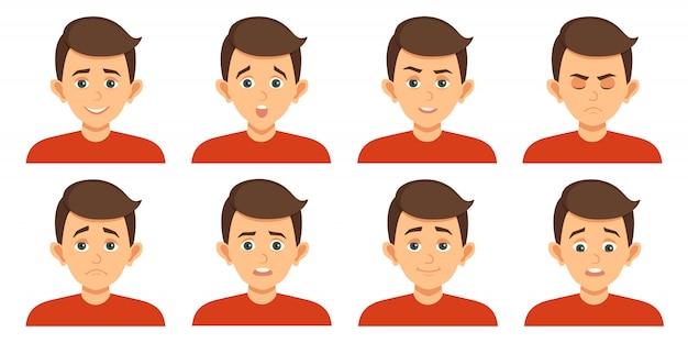 Conjunto de avatares com expressões faciais de criança Vetor Premium