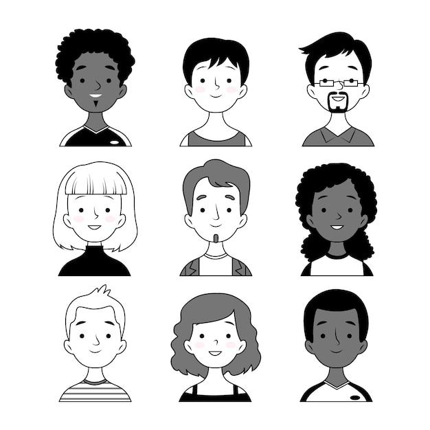 Conjunto de avatares de pessoas preto e branco Vetor grátis