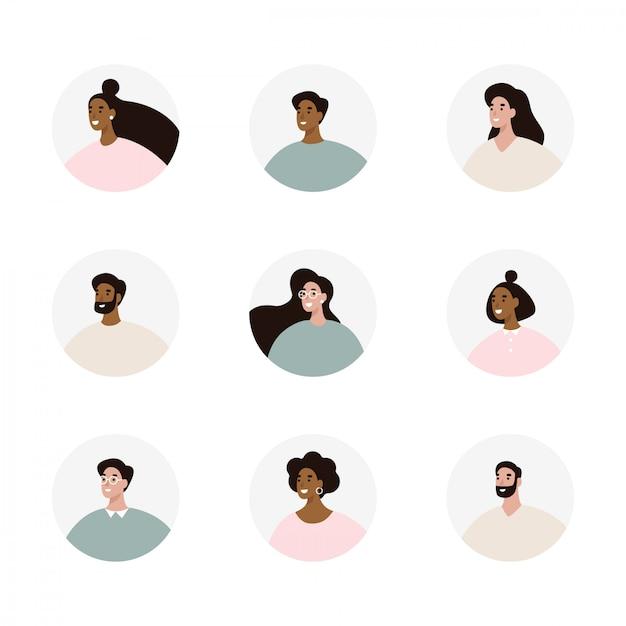 Conjunto de avatares de pessoas Vetor Premium
