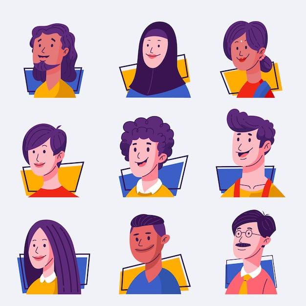 Conjunto de avatares de pessoas Vetor grátis