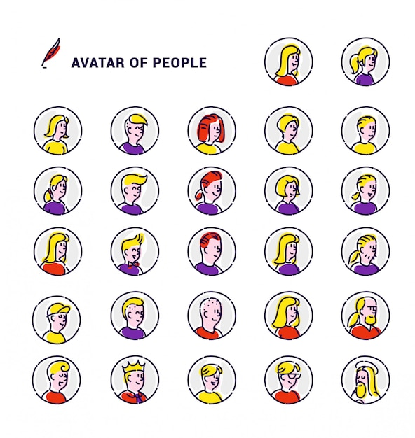 Conjunto de avatares de vetor de ícones de homens e mulheres. Vetor Premium