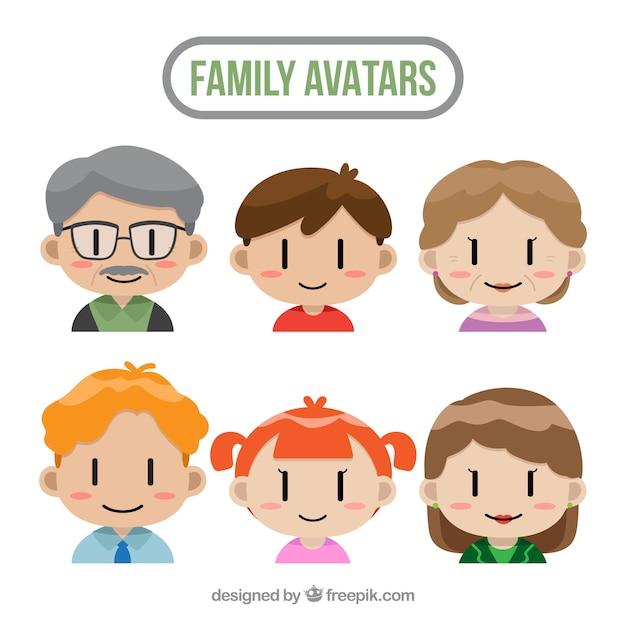 Conjunto de avatares familiares com design plano Vetor grátis