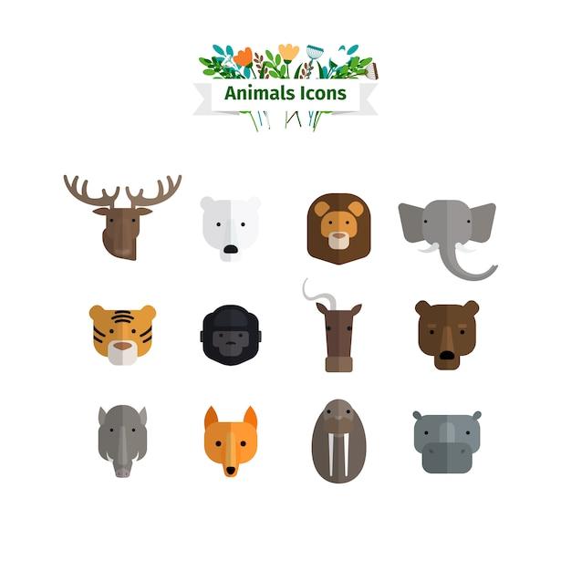 Conjunto de avatares plana de rostos de animais selvagens Vetor Premium
