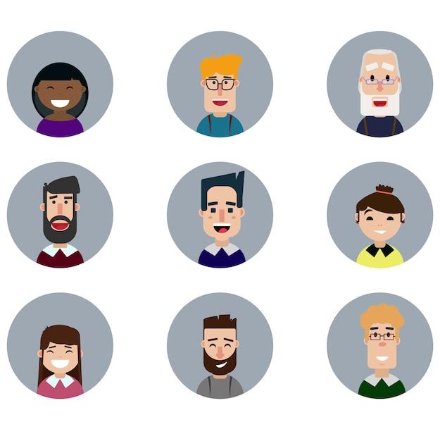 Conjunto de avatares, vários rostos humanos em estilo simples Vetor Premium