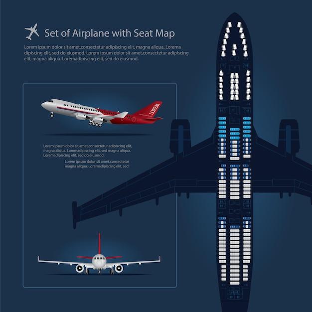 Conjunto de avião com ilustração de vetor isolado de mapa de assento Vetor Premium