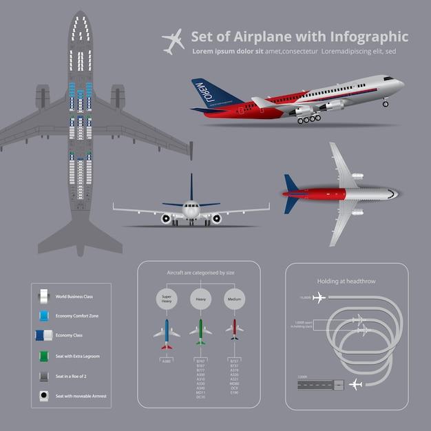 Conjunto de avião com infográfico Vetor Premium