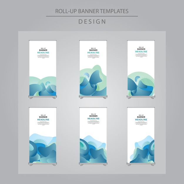 Conjunto de azul abstrato arregaçar o design da bandeira Vetor Premium