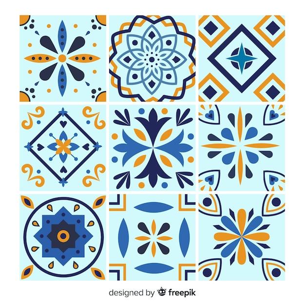 Conjunto de azulejos em tons azuis Vetor grátis
