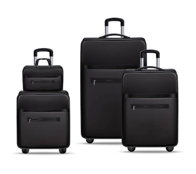 Conjunto de bagagem realista de viagens de negócios preto Vetor grátis