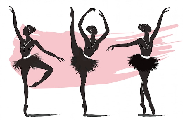 Conjunto de bailarina de mulher, ícone do logotipo de balé Vetor Premium